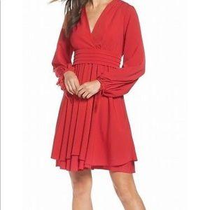 Eliza J Red Pleated V-neck Crepe A-line Dress